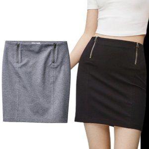 NWT New Aritzia Sunday Best Mitford Heather Grey Bodycon Zipper Mini Skirt